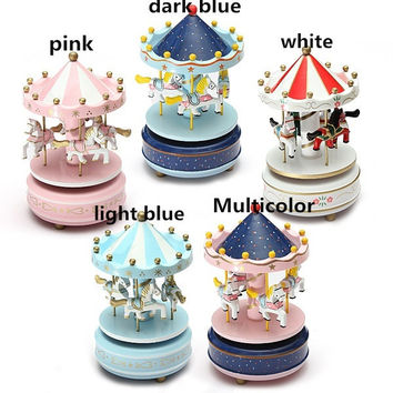 Wooden Merry-Go-Round  Music Box Christmas Birthday Gift Carousel Music Box = 5617065665