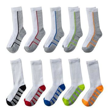 CREY7GX Tek Gear 10-Pack Crew Socks - Boys (White)