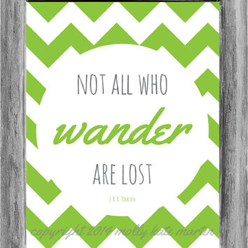 Typography Poster Quote Print Not All Who Wander Are Lost Lime Green Grey Chevron Pattern Background