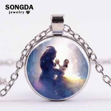SONGDA Beauty and the Beast Pendant Necklace Prince Princess Prom Dance Crystal Glass Gem Pendant Silver Chain Necklace for Kids