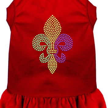 Mardi Gras Fleur De Lis Rhinestone Dress Red XL (16)