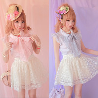 Floral Lace Cotton Top With Big Bow Free Ship SP141109 from SpreePicky