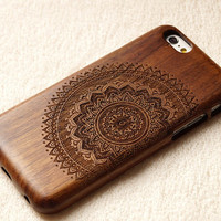 Wood iPhone case, 2/3 view mandala, iphone 6/plus case, iphone 5 case, iphone 5c case,iphone 4 case, wood case, iphone case, gift