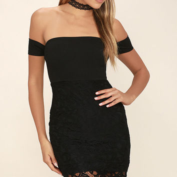 Little Darlin' Black Lace Off-the-Shoulder Dress