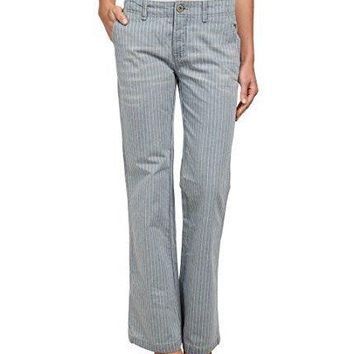Free People Women's Railroad Stripe Flare Jeans, Solar Blue, Size 24