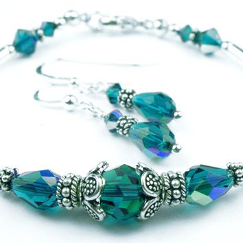 Solid Sterling Silver Bangle December Birthstone Bracelets & Earrings in Simulated  Blue Zircon