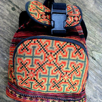 Tribal Backpack In Orange and Yellow Hmong Embroidery. Great Gift