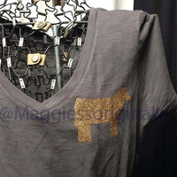 Sparkle v neck steer shirt