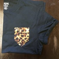 Black Pocket Tshirt Cheetah print tee