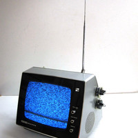 Vintage 1970's Space Age Design Portable Television TOSHIBA Solid State 70921C