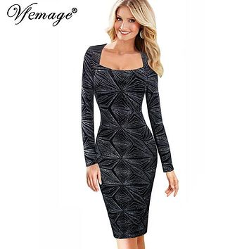 Vfemage Womens Elegant Vintage Rockabilly Spring Sequins Pinup Square Neck Casual Party Clubwear Sheath Bodycon Dress 4633