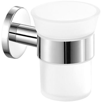 SCBA Ergon Wall Frosted Glass Toothbrush Toothpaste Holder Bath Tumbler - Brass