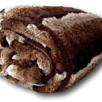 Tache Golden Faux Fur Sherpa Throw Blanket
