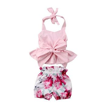 Newborn Kid Baby Girl Clothing Bow-knot Tops T-shirt Vest Halter Floral Shorts 2pcs Cute Summer Clothes Baby Girls 0-24M
