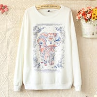 Cute Elephant Print Cotton Tee