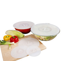Evelots Silicone Suction Lids/Food Covers, Kitchen Storage, Set Of 5, White