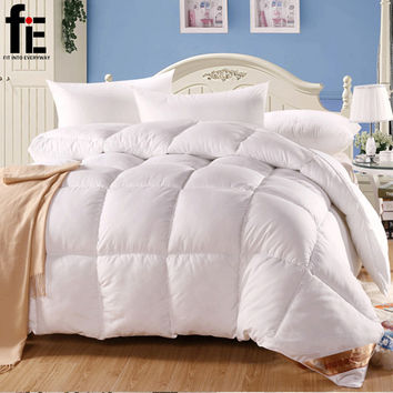 white duck/goose down winter quilt comforter blanket duvet filling with cotton cover twin queen king size bedding quilt