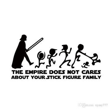 The Empire Does Not Cares About Your Stick Figure Family Star Wars Car Sticker Vinyl Decal