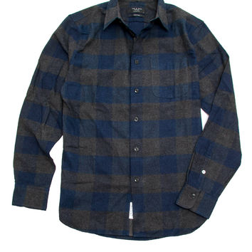 Rag & Bone Dark Navy Check Beach Shirt