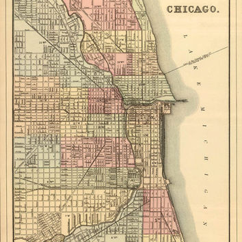 Chicago map - Old map of Chicago  print - Vintage Chicago  map reproduction