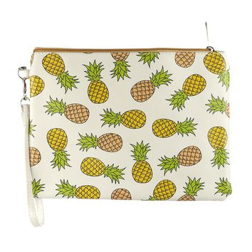 Yellow Pineapple Print Vinyl Wrist Wallet Bag Accessory