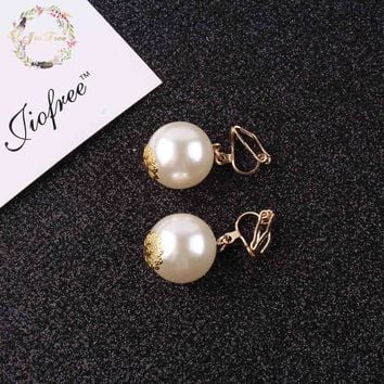 Classic simple Elegant 14mm big imitation pearl clip on earrings cushion without pierced earrings no ear hole clip jewelry