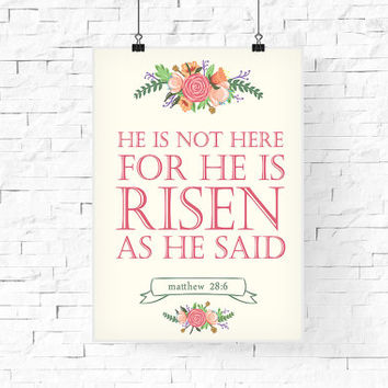 Easter Printable | He is risen printable | Easter Typography Poster | Bible Quote Printable | | Instant download | Easter Holiday Art Print