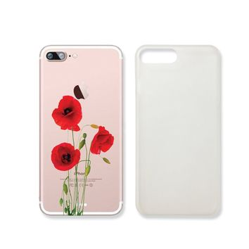 Vintage Poppy Flower Slim Iphone 7 Case, Clear Iphone 7 Hard Cover Case For Apple Iphone 7 -Emerishop (iphone 7)