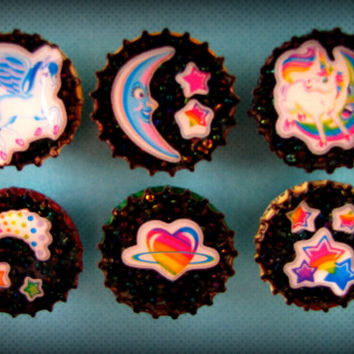 Upcycled Bottle Cap Magnets Resin Lisa Frank Medley Handmade Recycled Reclaimed Repurposed Eco Friendly Ceramic Magnet