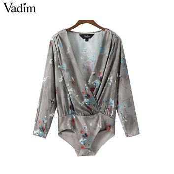 Women sexy deep V neck floral shirt bodysuit long sleeve elastic waist retro fashion casual tops