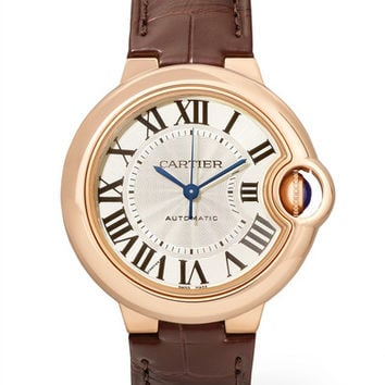 Cartier - Ballon Bleu de Cartier 33mm 18-karat pink gold and alligator watch