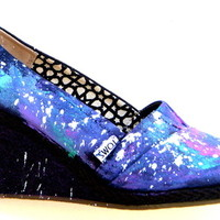 The Galaxy Wedges - TOMS Wedges hand painted by Fruitful Feet