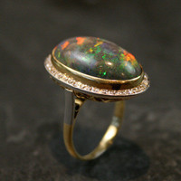 1920s 7ct Black Opal Cocktail Ring by Ruby Gray's | Ruby Gray's Antique & Vintage Rings