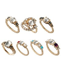 ASOS Vintage Style Faux Pearl & Stone Ring Pack