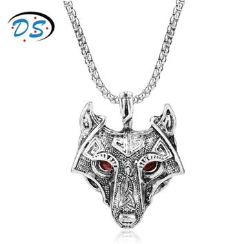 dongsheng jewelry Norse Vikings Wolf Head Necklace Original Animal Pendants Necklaces collares Men Boy Punk Colar Collier