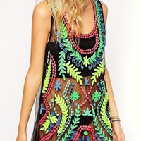 Black Leaves Printed Sleeveless Lace Tank Tops Cover-up
