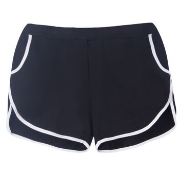 Women Pure Color Elastic Waist Pocket Sport Shorts