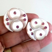 Vintage Pastel Pink Lucite Moonglow Rhinestone Clip Earrings 1950s Button