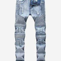 Men Ruched Ripped Jeans