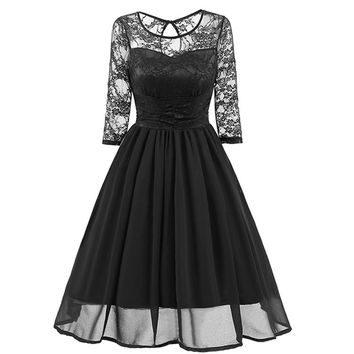 Lace Upper Long Skater Dress with Mid Sleeves