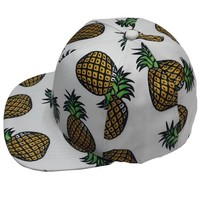 Pink Queen® Large Pineapple Snapback Flat Bill Hats Baseball Cap White