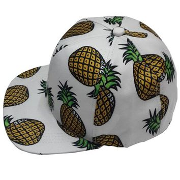 Pink Queen® Large Pineapple Snapback Flat Bill Hats Baseball Cap White 3c09481c835