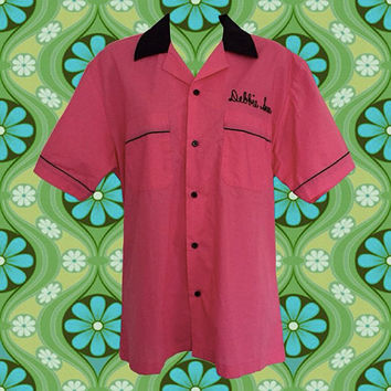 """1980's Version of a 1950's Bowling Shirt • Pink Ladies • Embroidered """"Debbie Sue"""" & Bowling Pin • Black Piping • Front Pockets"""