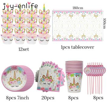 JOY-ENLIFE 57pcs Unicorn Party Tableware Birthday Party Napkin Cup Plate Hat Happy Birthday Decoration Baby Shower Supplies