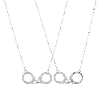 Handcuffs BFF Best Friends 2 PC Chain Charm Necklace SET