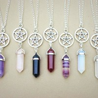 Best Deal 2018 new fashion Natural Agate Crystal Jewelry Pendant Necklace Pentagram Necklace Hexagonal Columns for Women' Gift