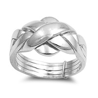 925 Sterling Silver Puzzle Style 11MM Promise Ring