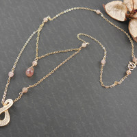 Gold-Filled Red Star Quartz Dainty Chain Necklace