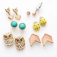 Mudd® Gold Tone Simulated Crystal Arrow, Ladybug & Owl Stud Earring Set