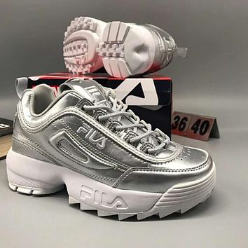 FILA Autumn winter Women Trending Running Sport Shoe Casual Thick Soles Shoes Sneakers Silver I-CSXY
